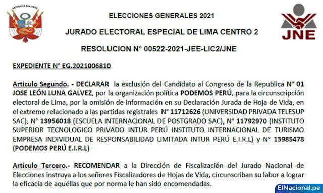 JEE excluyó candidatura de José Luna Gálvez al Congreso
