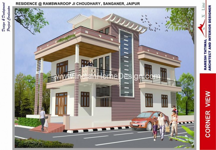 here is modern north indian style 3d house exterior views from ramesh