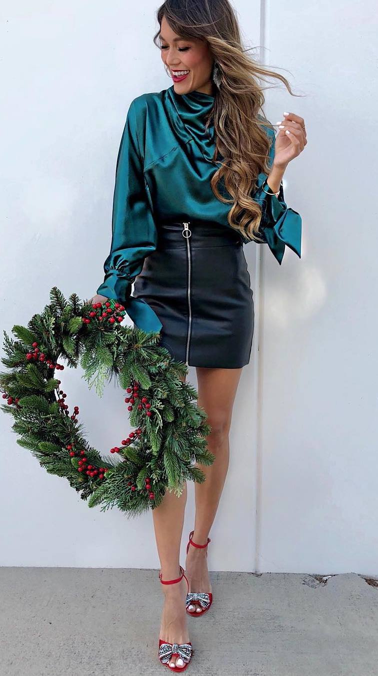 best winter outfit / green silk blouse + leather skirt + heels