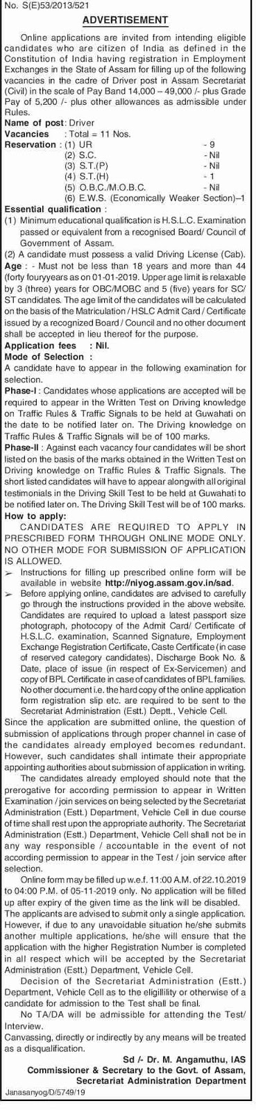 Assam Secretariat Driver Recruitment 2019 Notification