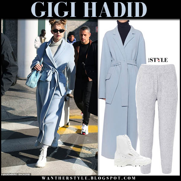 Gigi Hadid in pastel blue the row wrap coat and white leather rombaut sneaker boots celebrity winter street style december 5