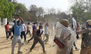 पुलिस लाइन्स में दंगा नियंत्रण उपकरण के साथ बलवा ड्रिल किया गया