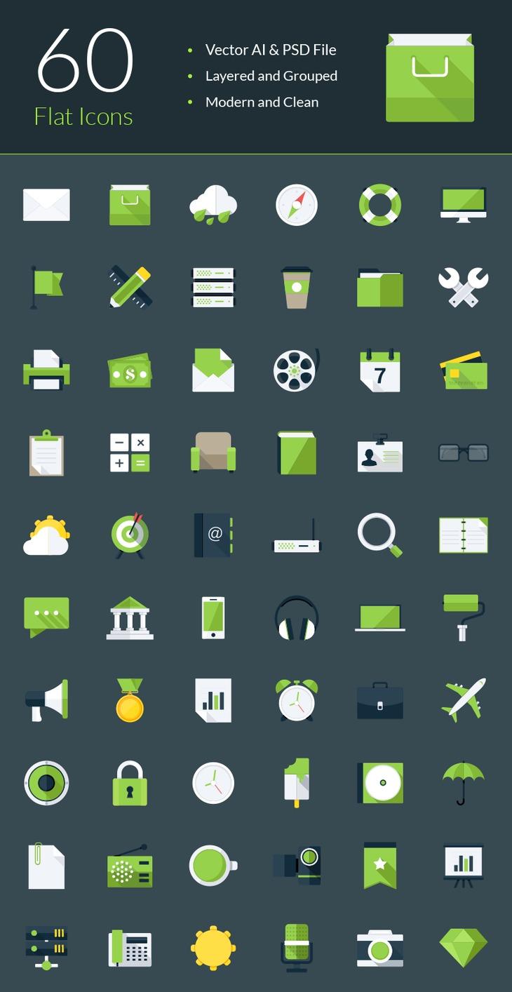 60 Modern Flat Icons