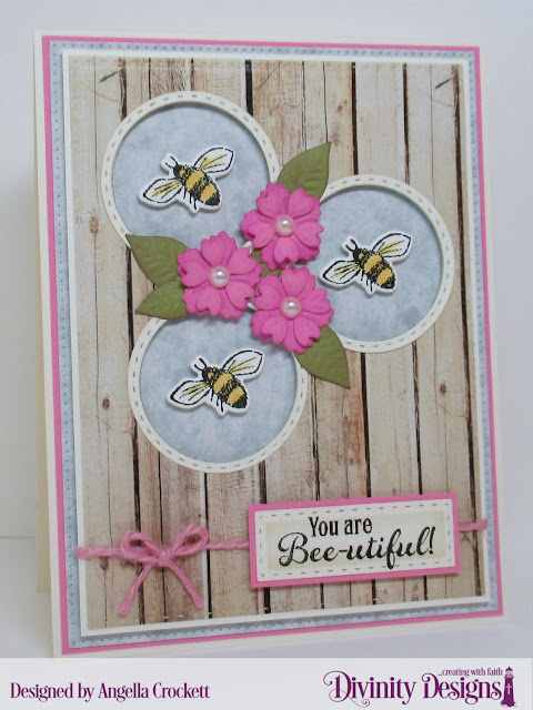 Divinity Designs: Bee Happy, Weathered Wood Paper Collection, Bitty Blossoms Dies, Double Stitched Circles Dies, Butterfly and Bugs Dies, Double Stitched Rectangles Dies, Pierced Rectangles Dies, Card Designer Angie Crockett
