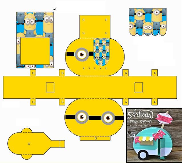 Minions: Free Printable Caravan Shapped Box.