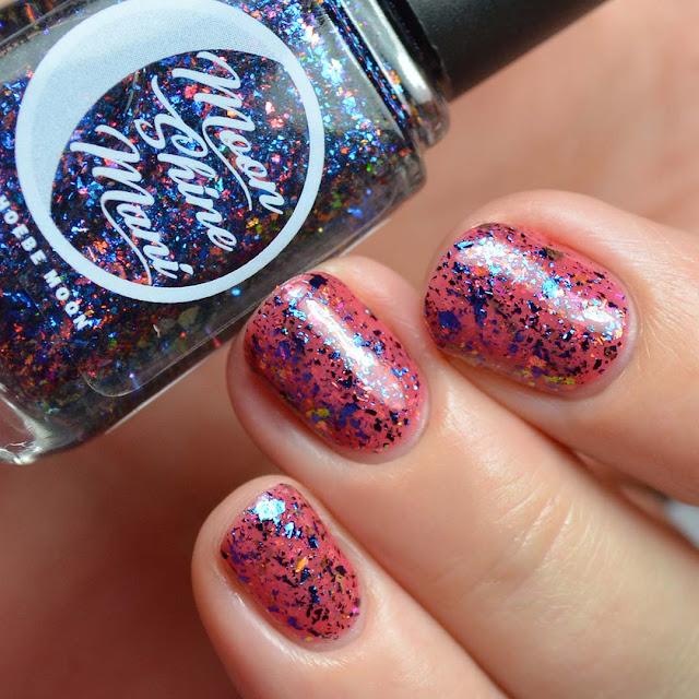 blue red flakie nail polish