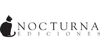 Logotipo de editorial nocturna. A la izquierda tiene la silueta de un gato de perfil sentado y con letras finas y elegantes está escrito Nocturna editorial