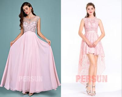 robe de soirée rose en dentelle appliquée chic 2019