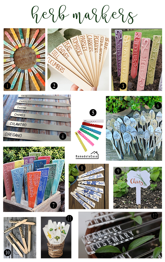 Herb/ plant markers in a variety of colors and shapes