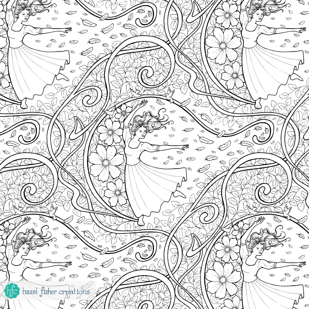 My entry to Spoonflower's Coloring Book contest, dancing girl design by Hazel Fisher Creations