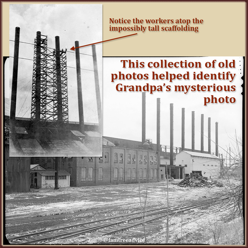 Historic photos of a factory helped me identify an old family photo.