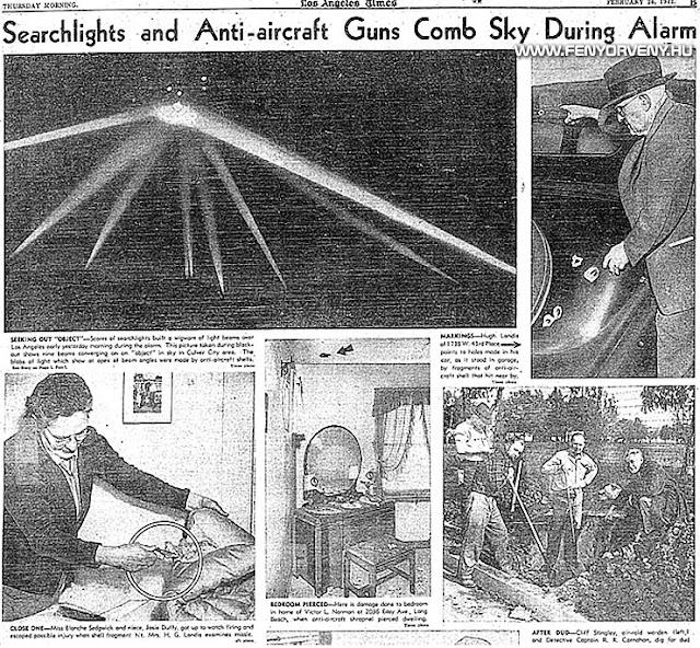 A világ legrejtélyesebb légi csatája - UFO-k Los Angeles felett 1942-ben