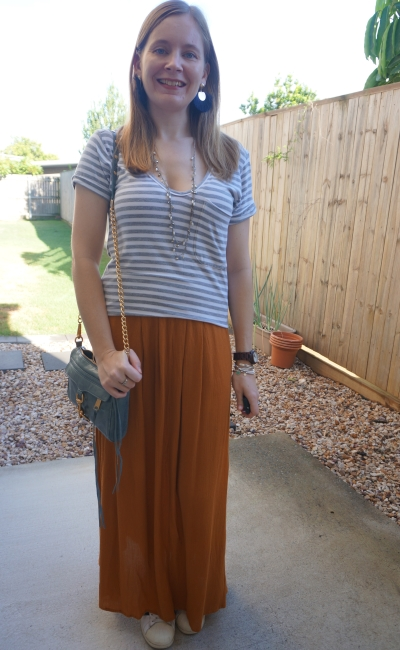 grey white striped tee with ochre maxi skirt sneakers rebecca minkoff mini mac bag   awayfromblue