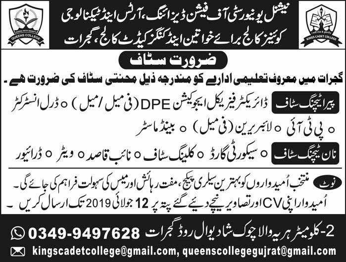 Jobs in Gujrat under National University Of Fashion Designing, Arts And Technology 05 Jul 2019