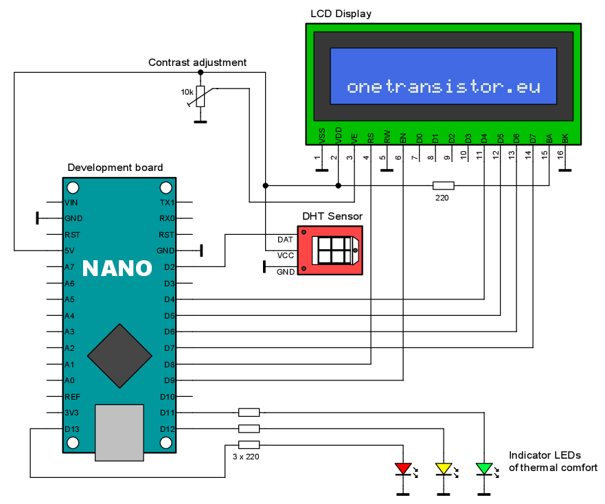 Compute Heat Index with Arduino and DHT Sensor · One Transistor