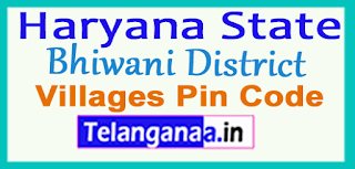 Bhiwani District Pin Codes in Haryana State