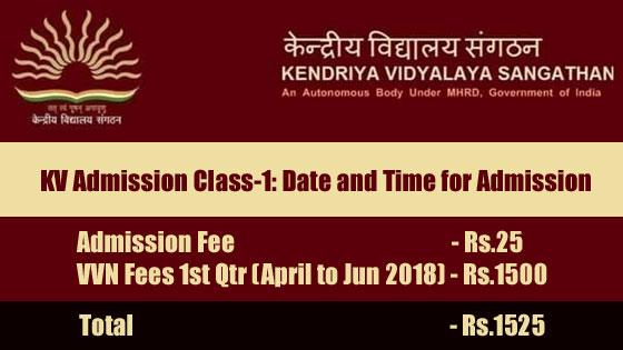 KVS-Admission-Class-1-School-Fees