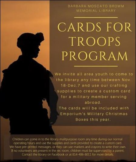 Thru 12-7 Cards for Troops Prgogram