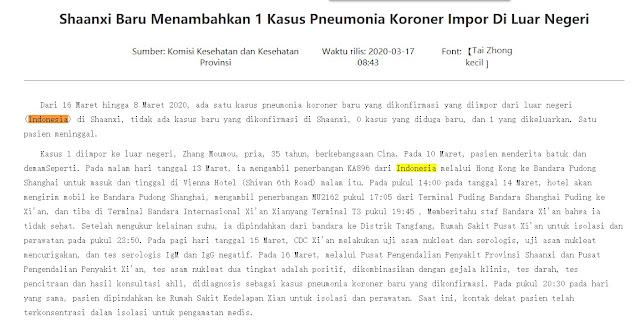 China Tuduh Indonesia Impor Virus Corona