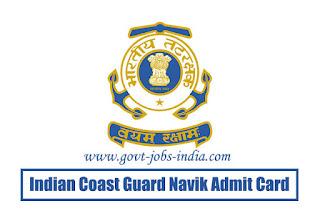 Indian Coast Guard Navik Admit Card 2020