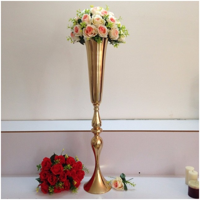 Tall Gold Centerpiece Vases