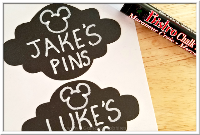 Chalkboard labels for DIY pin trading pouches for storing and organizing Disney Parks pins  |  3 Garnets & 2 Sapphires