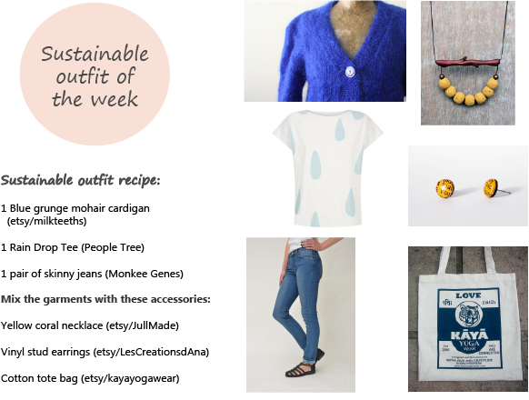 Sustainable outfit of the week (3-2015) - casual blue and curious  yellow