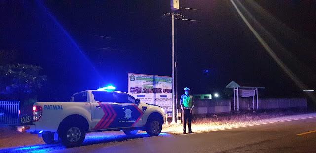 Jelang Subuh Sat Lantas Polres Lamandau Laksanakan Patroli Blue Light