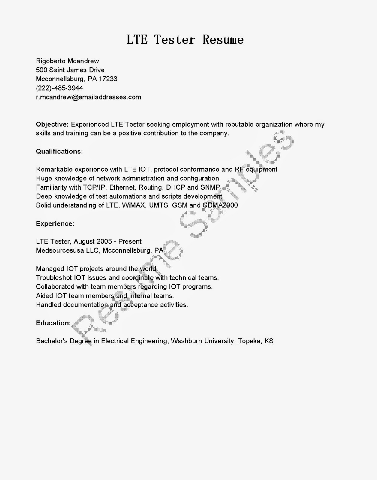 Clinical Engineer Cover Letter