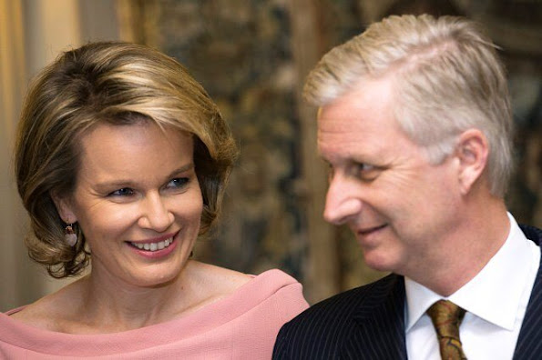 Queen Mathilde and King Philippe of Belgium attends the conference Belgium in the United Nations (La Belgique dans les Nations Unies)