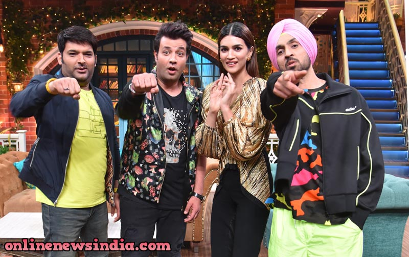 Diljit Dosanjh, Kriti Sanon and Varun Sharma on the sets of The Kapil Sharma Show