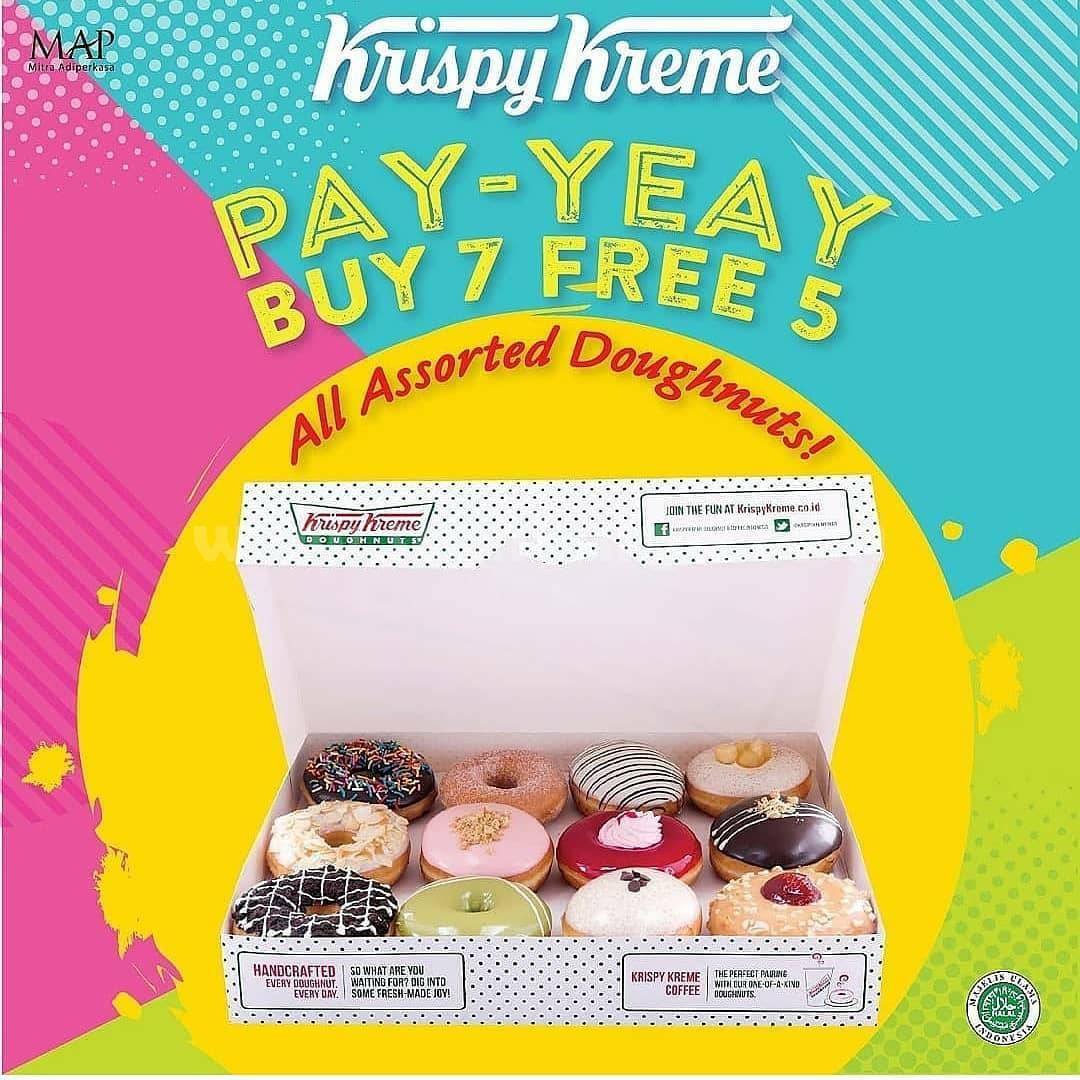 Promo KRISPY KREME PAY YEAY Buy 7 Get 5 All Assorted Doughtnuts