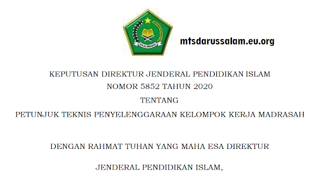 Juknis KKM (Kelompok Kerja Madrasah) Tahun 2020