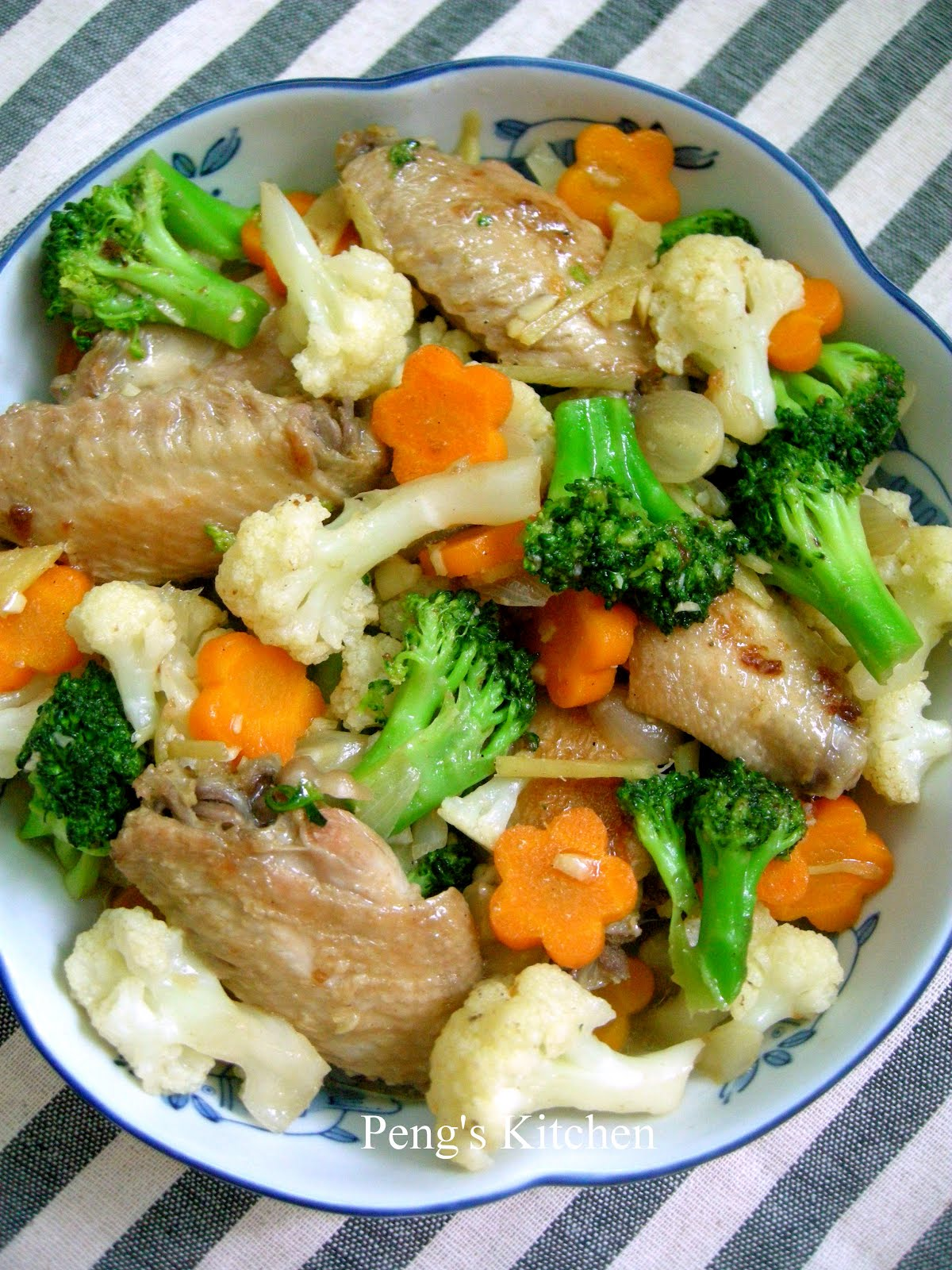 Peng S Kitchen Stir Fry Chicken Wings With Broccoli Cauliflower
