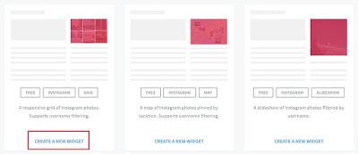 PIlih Jenis Widget Galeri Foto Instagram, Cara Membuat Widget Galeri Foto Instagram di Blog