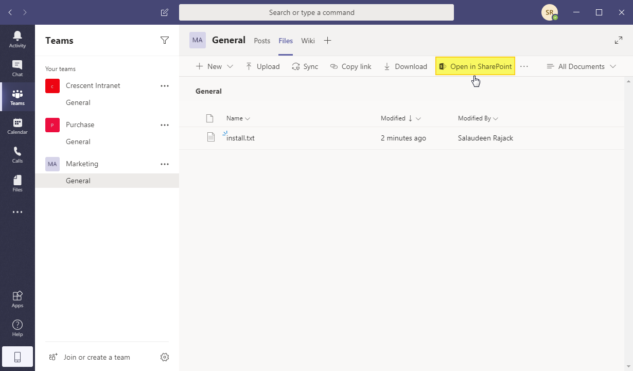 find sharepoint online site of microsoft teams