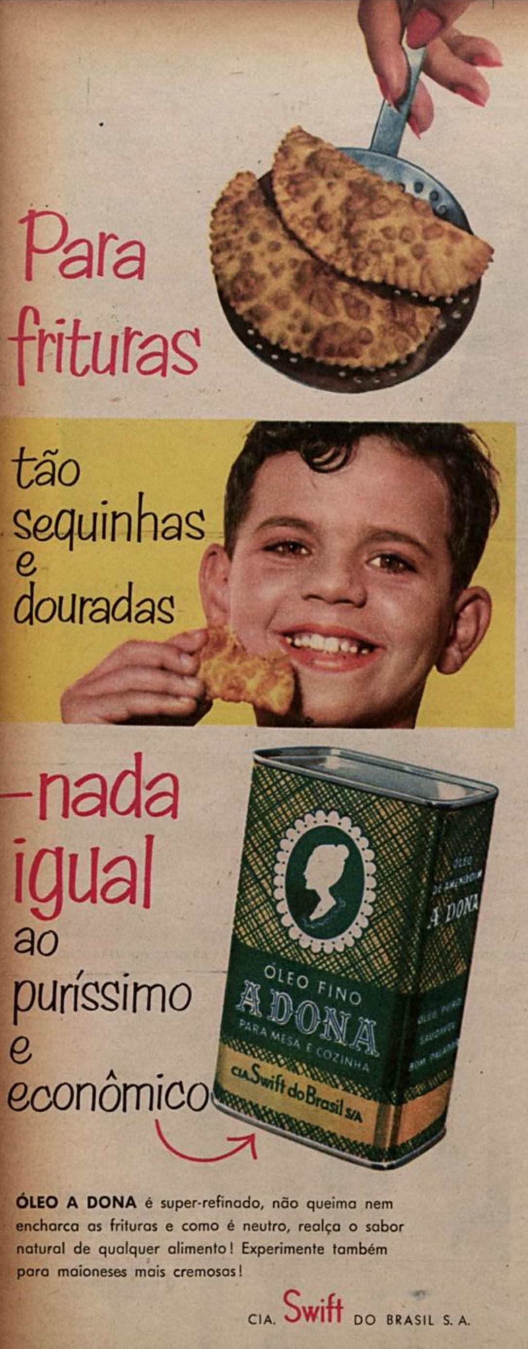 Propaganda de 1957 do óleo para frituras da marca A Dona