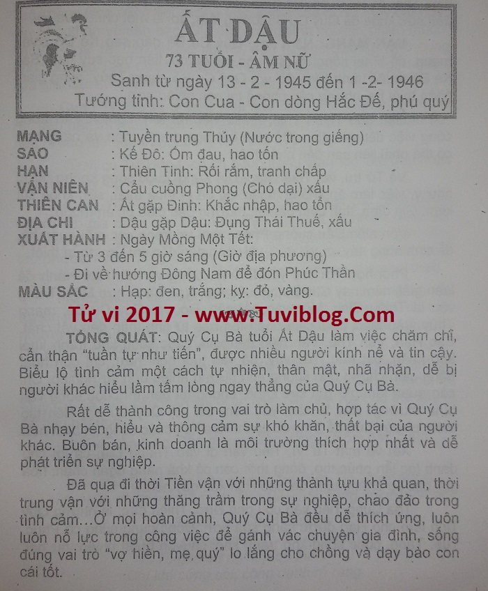 Tu vi At Dau 1945 nu mang