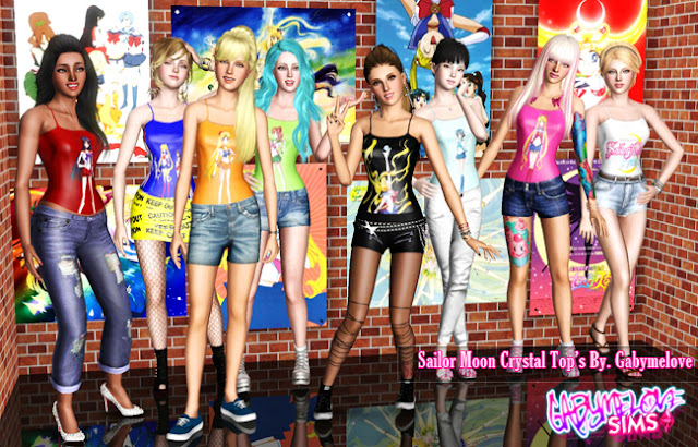 Sailor Moon Crystal Tops - All tops, Sims 3. Gabymelove Sims.