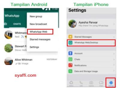Tampilan Whatsapp Web Android dan Whatsapp Web iPhone