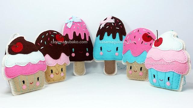 Sweet Treats: Cupcake, Ice Cream Cone and Ice Pop by casamagubako.com