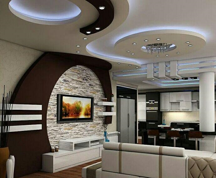 Top 100 Gypsum board false ceiling designs for living room