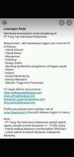 Lowongan Kerja PT. Feng Tay Indonesia Enterprises