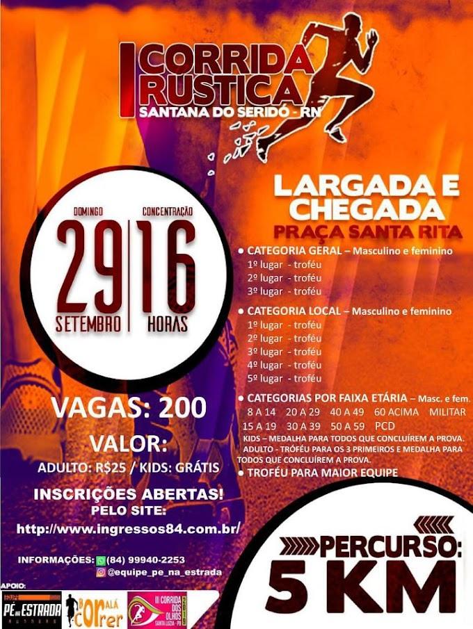 Aberta as inscrições para 1ª Corrida Rústica de Santana do Seridó/RN