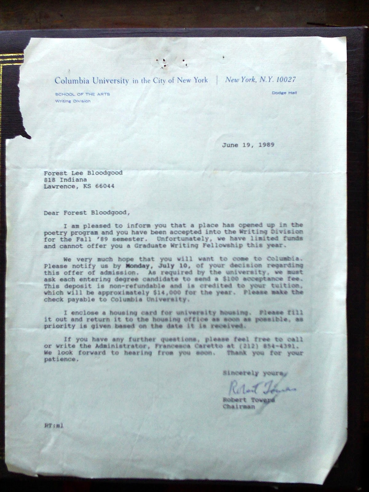 poetry of forest bloodgood: acceptance letter from Columbia