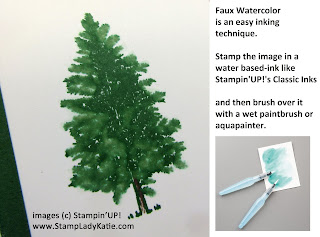 How to do the Faux Watercolor technique using Aqua painters and the tree from Stampin'UP!'s Merry Moose Stamp Set
