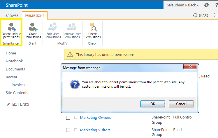 sharepoint remove unique permissions