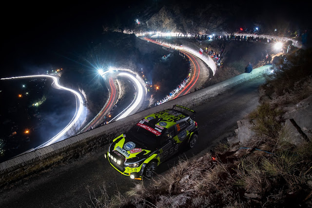 Rally Cars lighting up the road with spot lights
