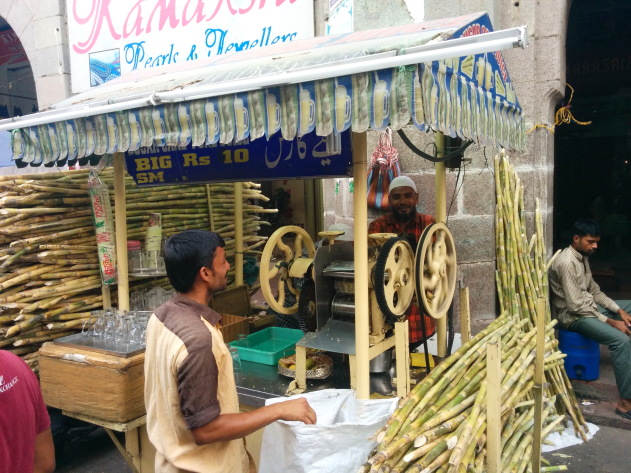 Fresh sugarcane juice laced with ginger - best for summer food walks in Hyderabad