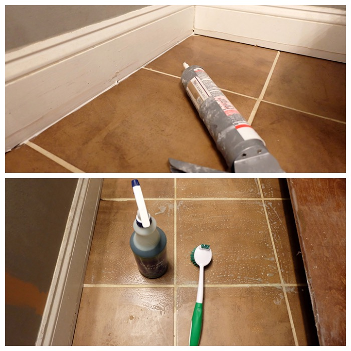 caulking gaps to prevent leaks and cleaning floor